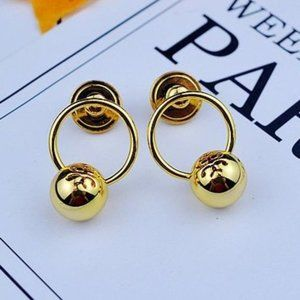 Tory Burch Gold Round Bead Earrings